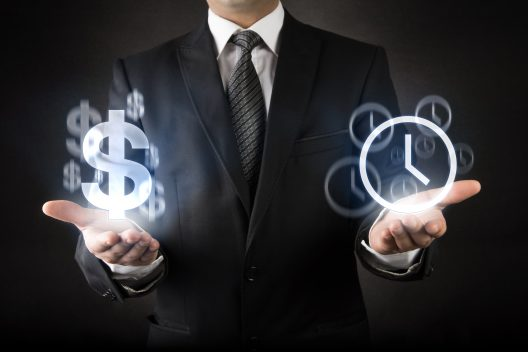 Businessman with Time is Money concept